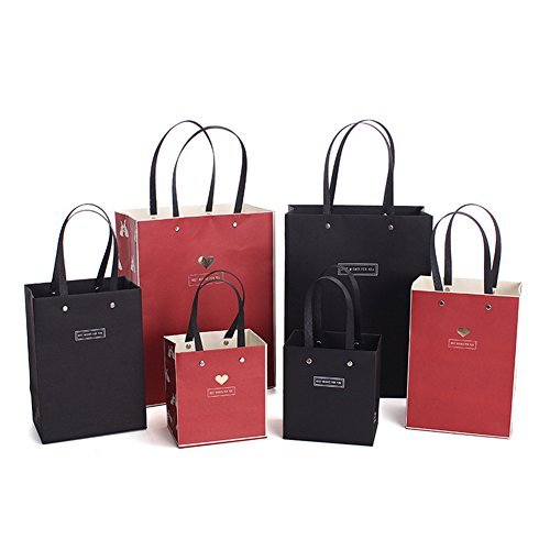 Rabbit Paper - Medium Sized Gift Bags Rabbit Black and Red Paper Bags for Birthdays,Shopping,Weddings,Presents Package