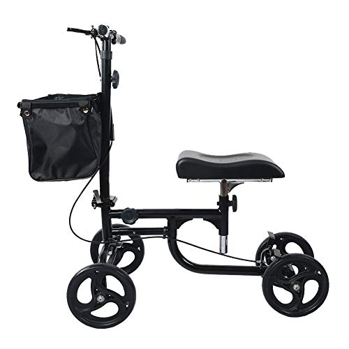 ELENKER Steerable Knee Walker Deluxe Medical Scooter for Foot Injuries Compact Crutches Alternative Black by ELENKER (Image #4)