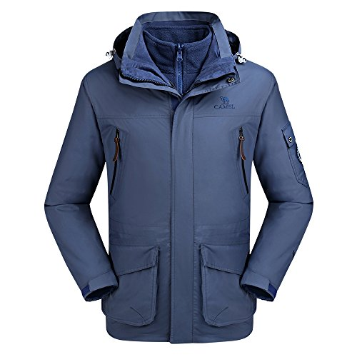 Camel Men's Interchange 3-in-1 Active Outdoor Waterproof Sport Jackets Color Blue Size L (Bi Jacket Layer)