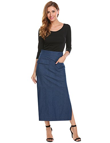 Zeagoo Women's Full Length Elastic Waisted Maxi Long Jean Skirt with Pocket Blue (Next Denim Skirt)
