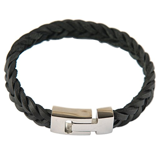 Vexed Soul Genuine Black Leather Braid Bracelet with Polished 316L Stainless Steel Magnetic (Polished Slide Jewelry)