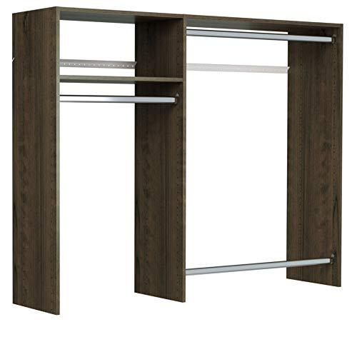 Easy Track Hanging Closet Wardrobe Storage Clothing Organizer Rod Rack System Kit for Bedroom, Truffle