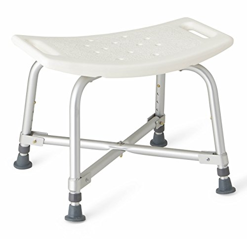 Medline Heavy Duty Shower Chair Bath Bench Without Back, Bariatric Bath Chair Supports up to 500 ()