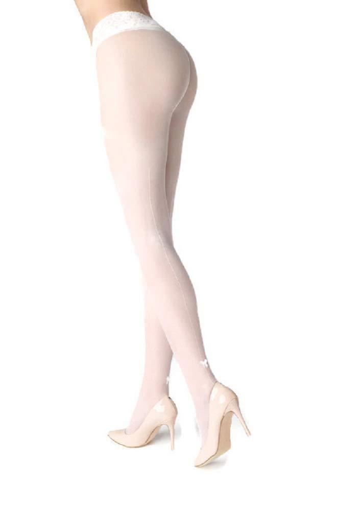 Patrizia Gucci designed for Marilyn w/ Rhinestones & Satin Bow Pantyhose (Milk, M/L)