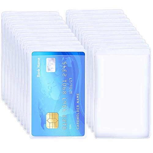 BronaGrand 20pcs Transparent Vertical ID Credit Card Holder Business Card Protector Sleeves (Best Bank To Get A Credit Card For Students)