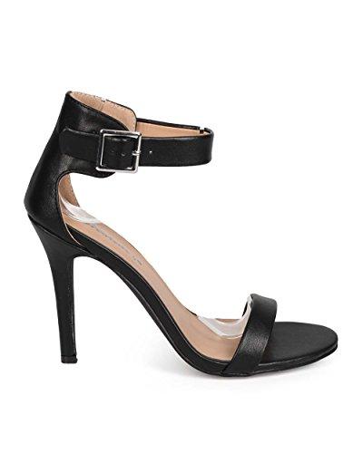 Breckelles Breckelles Eb57 Cinturino In Pelle A Punta Aperta Cinturino Alla Caviglia Sandalo Stiletto Nero