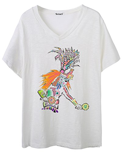 So'each Women's Indian Graphic V-Neck Tee T-shirt Ladies Casual Top
