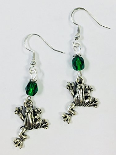 Frog Earrings with faceted green crystal accent bead, on sterling silver earwires