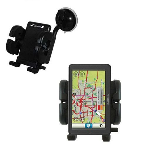 Gomadic Brand Flexible Car Auto Windshield Holder Mount designed for the Garmin dezl 560 560LT 560LMT - Gooseneck Suction Cup Style Cradle by Gomadic