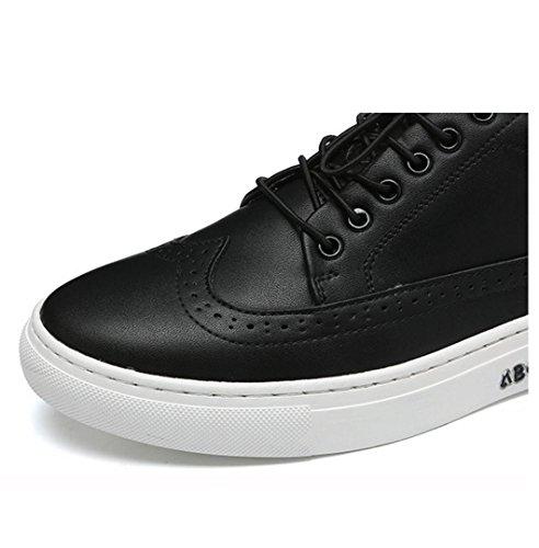 WZG zapatos casuales de Nueva Inglaterra de los hombres con cordones de cuero redondo y plano transpirable bajo para ayudar a los hombres Black
