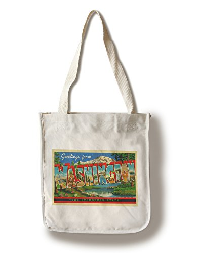 Greetings from Washington State The Evergreen State (100% Cotton Tote Bag - Reusable, Gussets, Made in America) (Made In Washington Gifts)