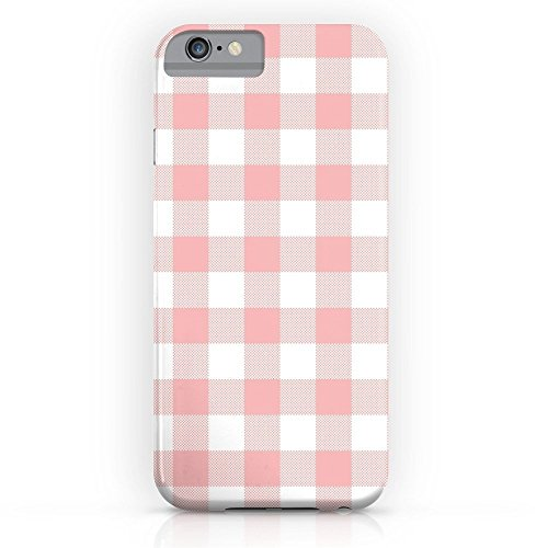 Checkers Case Protector (EZON-CH Customize Personalize Smooth Skin Coral Checker Gingham Plaid Waterproof Slim Protective PC Phone Case Cover Phone Protector For Iphone 8 Plus With Tempered Glass Screen Protector)