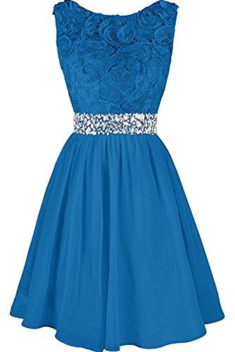 Ivydressing Abendkleider Steine Kurz Blau Ballkleider Brautjungfernkleid Damen Hochwertig Spitze rAqt4rw