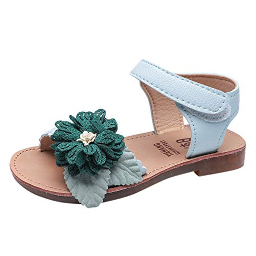 Tantisy ♣↭♣ Kids Girls Cute Flower Open Toe Flat Strap Summer Sandals (Toddler/Little Kid/Big Kid) Light - Tone Ring Two Ultra Diamonds