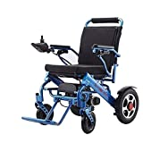 New Model 2019 Fold & Travel Lightweight Motorized Electric Power Wheelchair Scooter, Aviation Travel Safe Electric Wheelchair Heavy Duty Power Wheelchair (Blue)