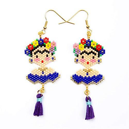 (Face Gold Hook Ins Popular Flower Pendant Delica Earrings Miyuki Earring For Woman Fashion Girl Jewelry Gifts,Earrings-Blue)