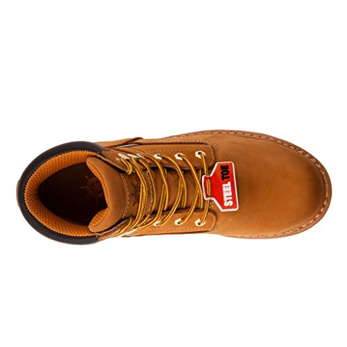 KINGSHOW GW Mens 1606ST Steel Toe Work Boots Wheat KyBFGnUoc