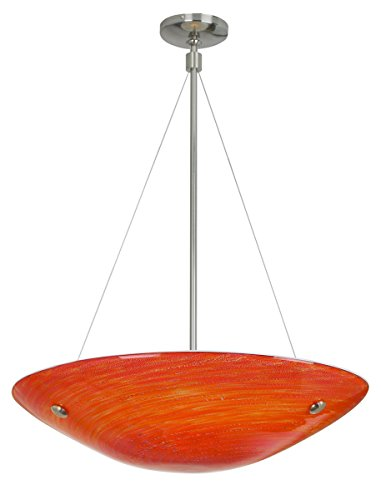 Stone Lighting CH502RDSNMC15 Chandelier Neptune Suspension Large Red Satin Nickel Minican 150W (Halogen Suspension)