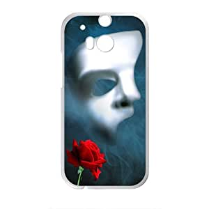 Rose And Mask Design Plastic Case Cover For HTC M8