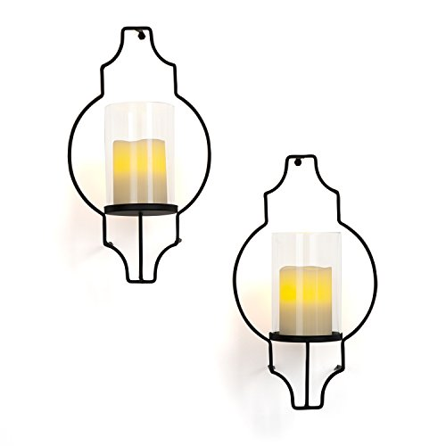 LampLust Flameless Candle Wall Sconces - Glass Hurricane Holders with Flickering LED Pillar Candles, Warm White Light, Black Metal Frame, Battery Operated, Remote Included, Set of 2