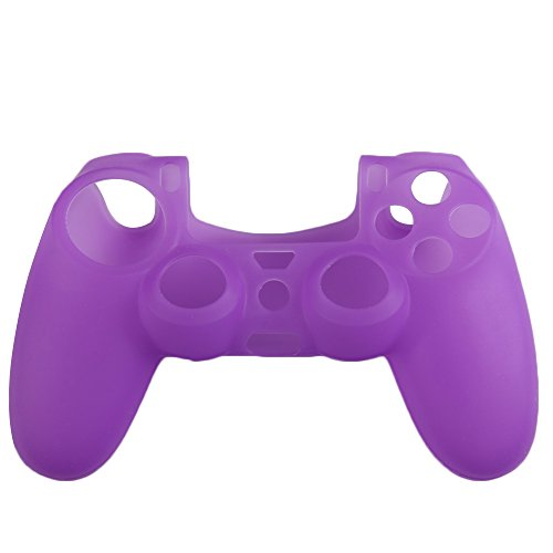 Price comparison product image Vktech Silicone Rubber Soft Case Skin Cover for PS4 Controller Grip Handle (Purple)