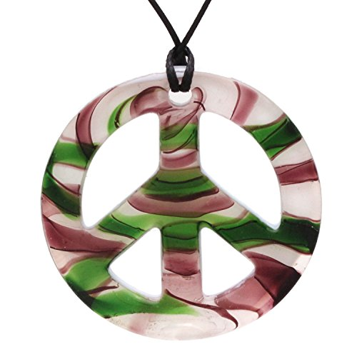 (Bleek2Sheek Murano-Inspired Glass Green, Purple and White Peace Pendant)