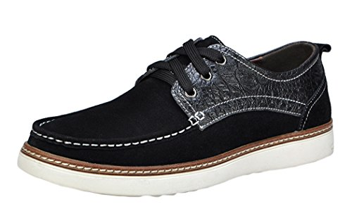 Serene Christmas Mens Fashion Suede Casual Skate Sneakers(10.5 D(M)US, Black)