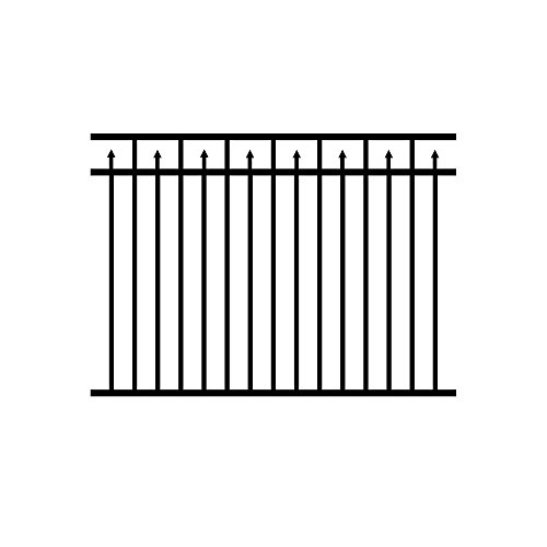 Metal Fence Panel 46 in. Rail Spacing High-Strength Aluminum Alloy in Black (Spacing Aluminum Fence)
