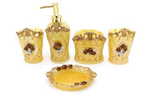 Rose Rug Antique - High Grade 5 Pieces Bathroom Accessory Set With Golden Rose Relief Ensemble,Resin Sanitary Ware,Home Decor,Bath Ideas,Home Gift