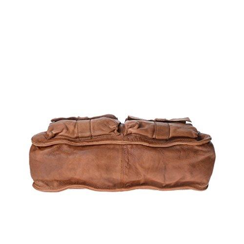 Bolso bandolera en piel vivido teñida en prenda con 2 asas DUDU Nut Brown