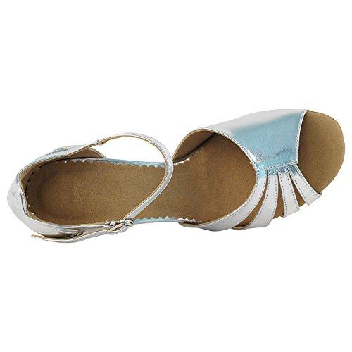 50 Nuances De Chaussures De Danse En Argent: Robe De Soirée Confort, Pompes De Mariage, Chaussures De Bal Pour Le Latin, Tango, Salsa, Swing, Art De La Mode Par 50 Teintes (2.5, 3 Et 3.5 Talons) 1680- Cuir Argent