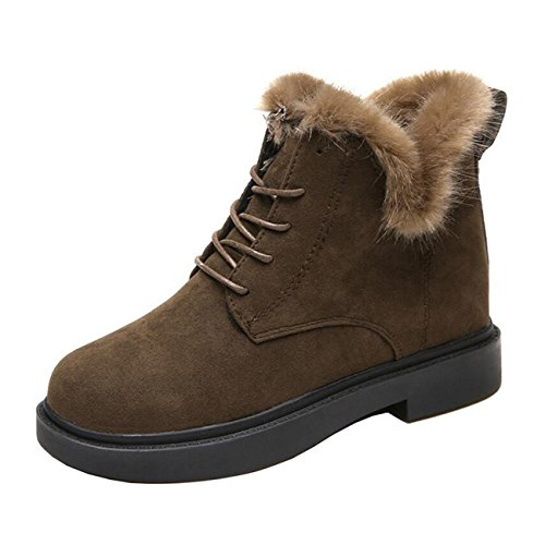 up Women's Boots Heel Lace Thick Fur Short Mashiaoyi Flat Khaki ZqXxqB