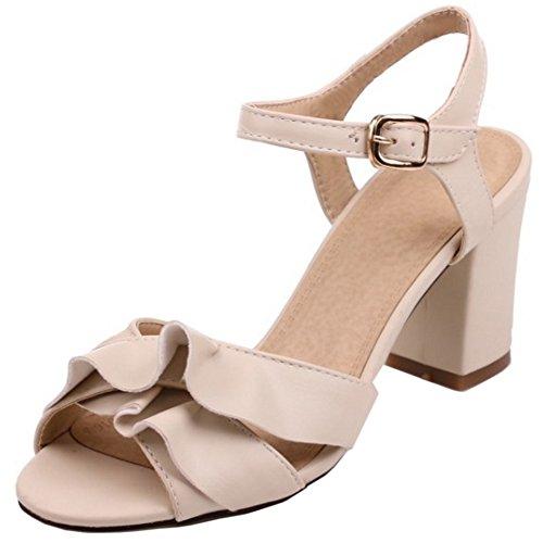 Slingback Ruffles Toe High Heel Buckle Women Sandals Peep apricot Block Summer Fashion TAOFFEN aw1CExSE