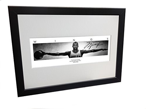 Kicks Michael Jordan WINGS Signed 12x8 A4 Chicago Bulls Basketball Autographed Photo Photograph Picture Frame Gift by Kicks