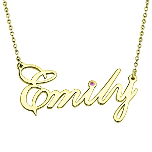 Personalized Name Necklace with Birthstone 18K Gold Sterling Silver Custom Made Any Names Dainty Jewelry Gifts (Golden) 14k Yellow Gold Nameplate