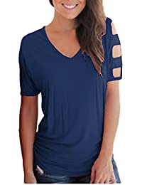 Women's Summer Short Sleeve Cut Out Cold Shoulder Tops Blouses Tee Shirt