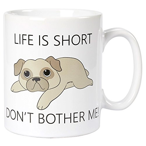 Ceramic Coffee Mug with Handle - Life Is Short Don't Bother Me, Large Stoneware Tea Cup for Dog Lovers, Novelty Gift for Birthday, Friends, Lovers, White, 16 Ounces