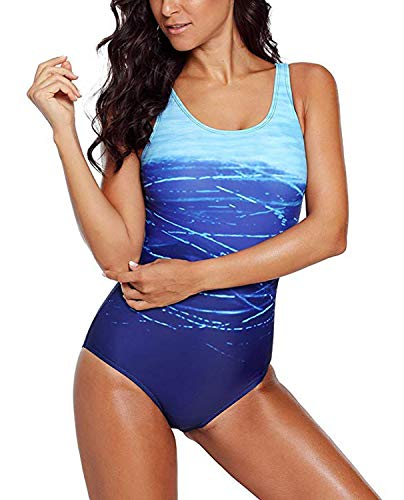 Diukia Women's Athletic High Cut One Piece Crisscross Printed Swimsuit Bathing Suit Monokini (Fully Lined Suit)