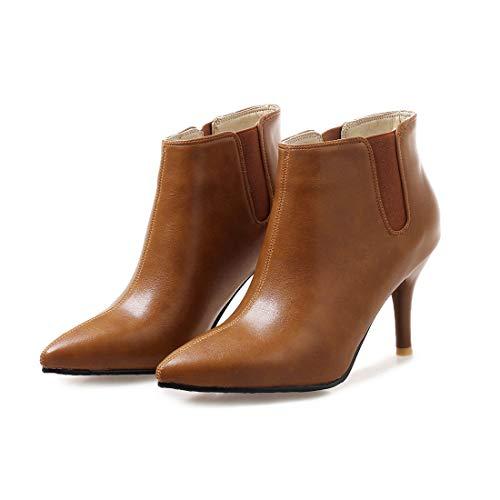 Sandalette-DEDE Zapatos para Mujer/Botas Pointy Head Low Tube Martin Botas bajo Tubo Martin Botas Sexy Botas de tacón Alto Yellow