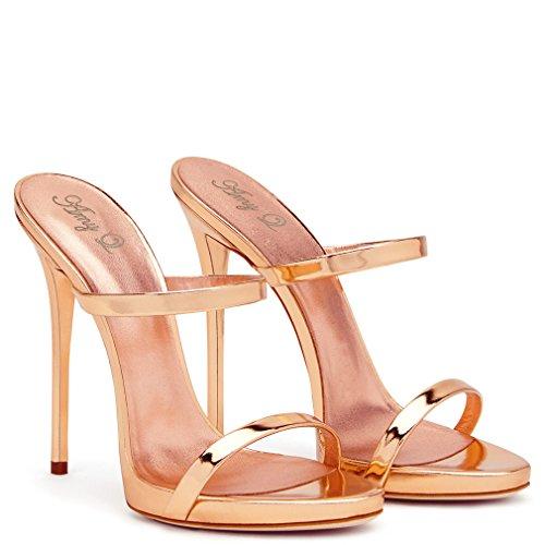 46 eu42 Open a De Lucky Zapatillas Alto Blink Tacón Toes Gold Corte Rose Sandalias Shoes Aguja Clásico Clover Mujeres Eu34 Zapatos gold HPPwx15S