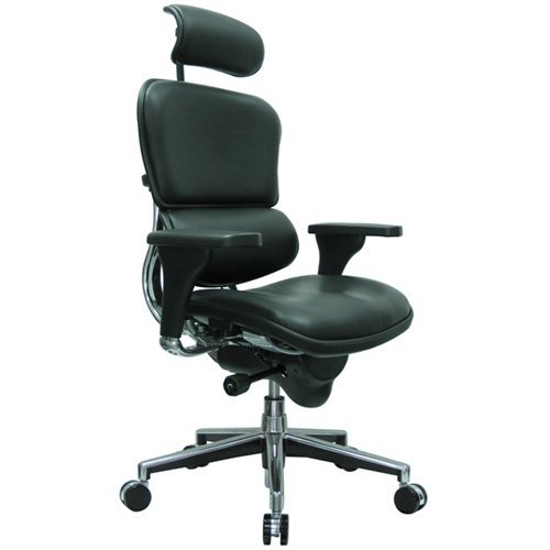 - Eurotech Seating Ergohuman Collection High Back Ergonomic Chair with Headrest in Black Leather