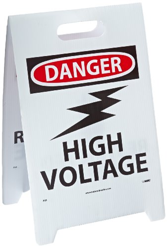 NMC FS9 Double Sided Floor Sign, Legend ''DANGER - HIGH VOLTAGE WARNING RESTRICTED AREA'' with Graphic, 12'' Length x 20'' Height, Coroplast, Black on White by NMC