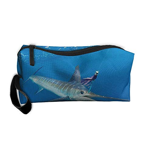 Sea Striped Marlin Fish Pattern Makeup Bag Printing Girl Women Travel Portable Cosmetic Bag Sewing Kit Stationery Bags Feature Storage Pouch Bag Multi-Function Bag