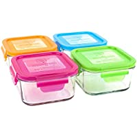 Wean Green Glass Food Storage Containers, Lunch Cube 16 Ounces, Garden Pack (...