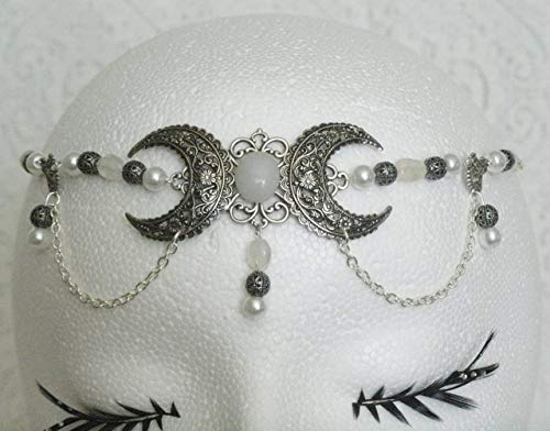 Moonstone Triple Moon Circlet handmade jewelry wiccan pagan wicca witch witchcraft goddess metaphysical handfasting by Sheekydoodle