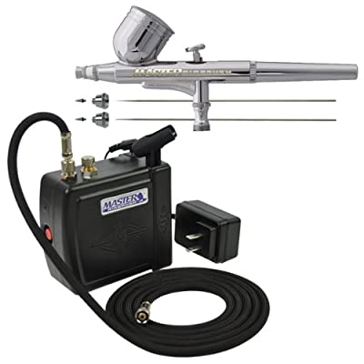 Master Airbrush Model G222 3 Tip Size PRO SET Airbrushing System with Model C16-B Black Portable Mini Airbrush Air Compressor