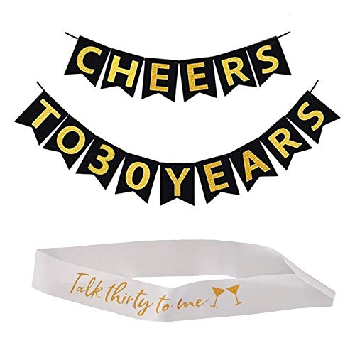 - 30th Birthday Decorations - Cheers to 30 Years Black and Gold Banners with Bonus