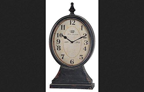 Cooperclassics Home Decorative Leona Clock Distressed Black Finish With Red Undertones -