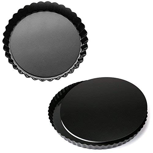MJ Kitchen 2 Pack 11 Inch Removable Bottom Tart Pan Quiche Pan Pie Pan with Removable Base NonStick Tart Pie Quiche Baking Dish