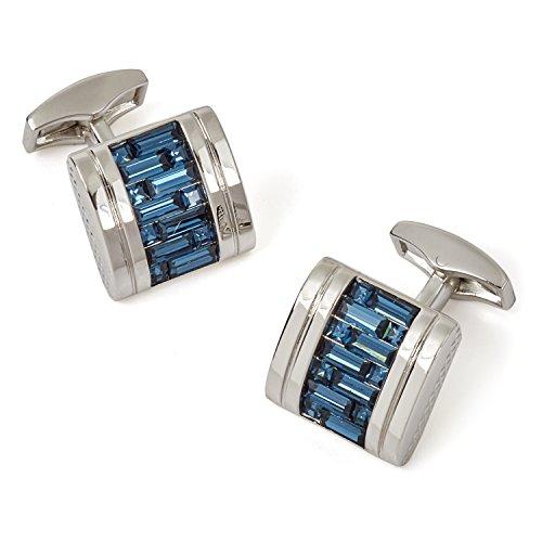Tateossian Interlock Belgravia Cufflinks with Blue Swarovski in Rhodium Silver case